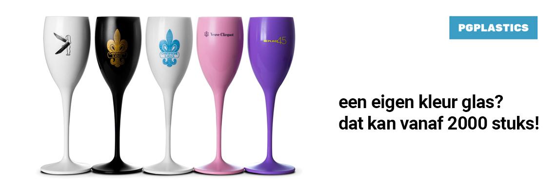 Herbruikbare plastic champagneglazen met eigen logo