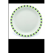 PLASTIC BORD GROEN GESTREEPT 25cm (PC) Onbreekbaar Harfield - 50 st/ds