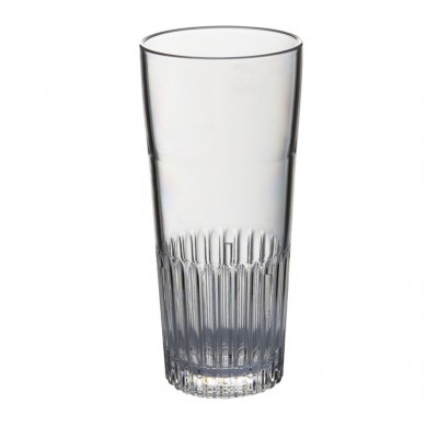 50x Plastic Bierglazen Ribbel 30cl Onbreekbaar