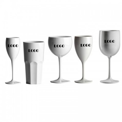 50x Witte Plastic Glazen Bedrukt Onbreekbaar Lounge