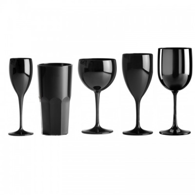 50x Zwarte Plastic Glazen Onbreekbaar Lounge