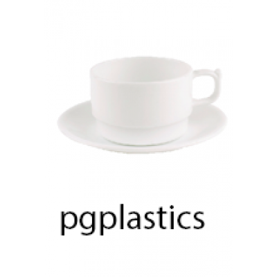 PLASTIC KOFFIEKOP 20cl, en Onderzetbordje (PC) Onbreekbaar - 12 st/ds