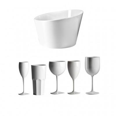 30x Witte Plastic Glazen en Grote ijsemmer - Pool Lounge