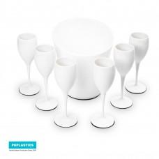 Set 6x Witte Champagneglazen met ijsemmer - Cadeau Set - No.1