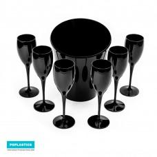 Set 6x Zwarte Champagneglazen met ijsemmer - Cadeau Set - No.1